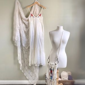 🖤 SPELL | Vintage White Embroidered Prairie Dress